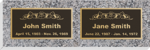 Set of bronze 16 inch by 8 inch plaques with granite base.